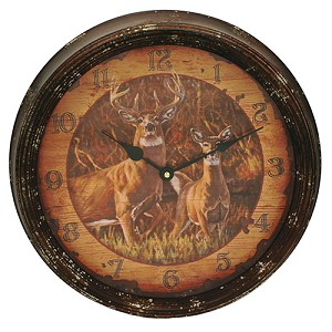 "Rivers Edge Products Buck and Doe Metal Clock 15"" 1025"