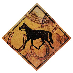 "Rivers Edge Products Horse  Crossing Tin Sign  11.5"" X 11.5"" 1490"