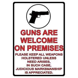 "Rivers Edge Products Guns Are Welcome Tin Sign 16"" 1499"
