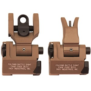 Troy Industries Md Sight Set, M4 Front & Round Rear FDE SSIG-MDS-MRFT-00