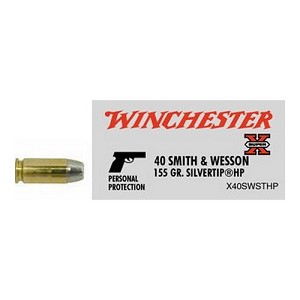 Winchester Ammo 40 S&W 155gr SupX Silvertip /50 X40SWSTHP