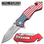Tac-Force Assisted 3.25 in Blade USA Flag Aluminum Handle