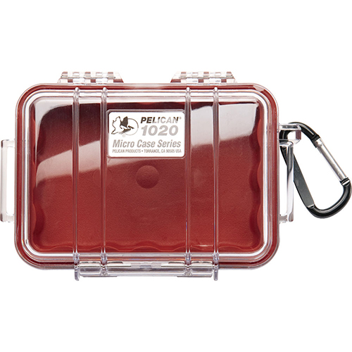 Pelican 1020 Micro Case, Clear Top Red 1020-028-100