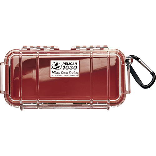 Pelican 1030 Micro Case, Clear Top Red 1030-028-100