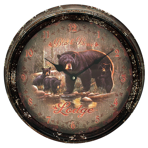 Rivers Edge Products Black Bear Lodge Metal Clock 15