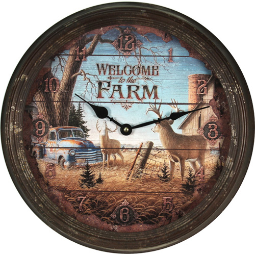 Rivers Edge Products Welcome Deer Metal Clock 15