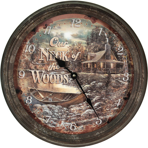 Rivers Edge Products Cabin Scene Metal Clock 15