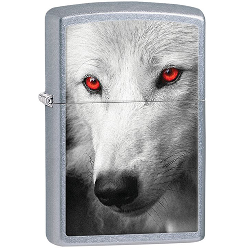Zippo Outdoors Windproof Lighter-Wolf /Red Eyes-S Chrome 28877