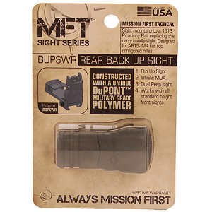 Mission First Tactical RearBackUp Sight Poly FlipUp Adj Wind SDE BUPSWRSDE