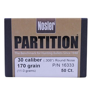 Nosler 30 Cal 170gr RN Partition (50 ct) 16333