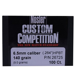 Nosler 6.5mm 140gr CustCmp HPBT (250 ct) 49823