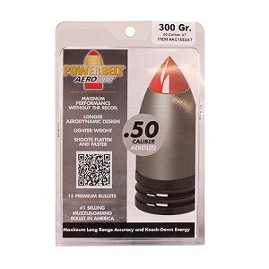 Powerbelt Bullets PowerBelt AeroLt 15pk 50Cal 300gr AeroTip AC1552AT