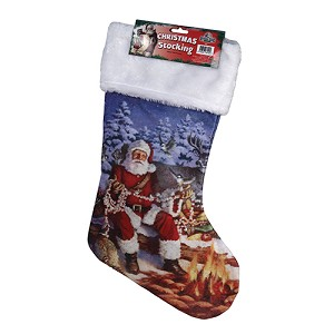 "Rivers Edge Products 20"" Santa With Wildlife Stocking 31"