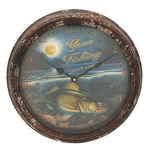 "Rivers Edge Products Walleye Metal Clock 15"" 1028"