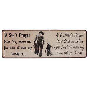 "Rivers Edge Products Father And Son Prayer Tin Sign 10.5x3.5"" 1373"