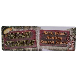 "Rivers Edge Products Gone Fishin Tin Sign 10.5"" X 3.5"" 1420"