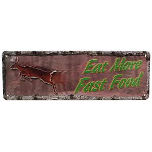 "Rivers Edge Products Eat More Fast Food Tin Sign 10.5"" X 3.5"" 1421"