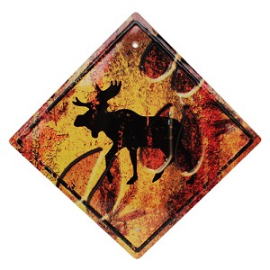 "Rivers Edge Products Moose  Crossing Tin Sign 11.5"" X 11.5"" 1487"