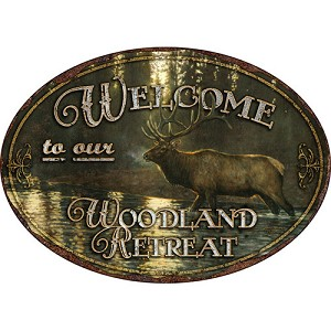 Rivers Edge Products Woodland Retreat Tin Sign 1523