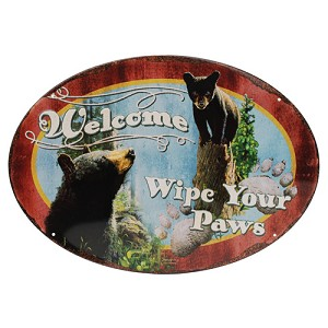 "Rivers Edge Products Wipe Yer Paws Tin Sign 12""x17"" 1536"