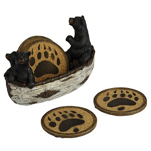 Rivers Edge Products Bears In Boat Coaster Set 2040