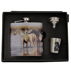 Rivers Edge Products Horse Flask With Shot Glasses 989