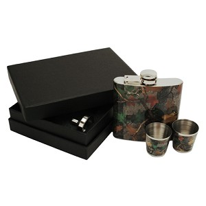 Rivers Edge Products Cb Camo Flask With Shot Glasses 990