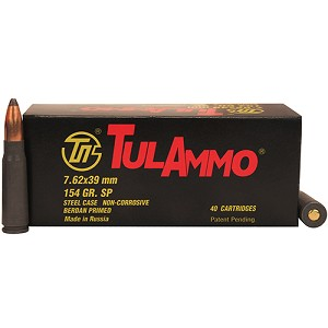 Tulammo 7.62x39 154gr SP Steel Case /40 UL076214