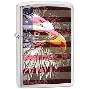 Zippo Outdoors Windproof Lighter- Eagle - Brushed Chrome 28652