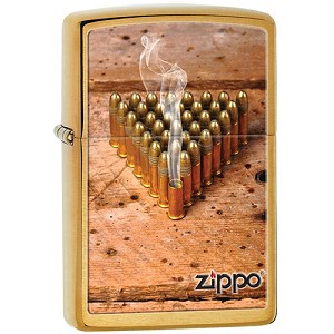 Zippo Outdoors Windproof Lighter-Bullets - Brushed Brass 28674