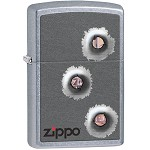 Zippo Outdoors Windproof Lighter-Bullet Holes-Strt Chrme 28870